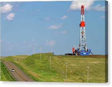 Killdeer Canvas Print - Patterson Uti Oil Drilling Rig by David R. Frazier
