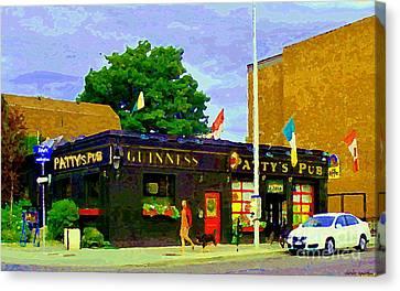 Patty's Pub Guinness On The Glebe Restaurant Bar Bank And Ossington Paintings Of Ottawa Art Cspandau Canvas Print by Carole Spandau