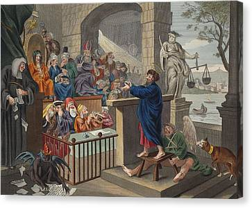 Paul Before Felix, Illustration Canvas Print by William Hogarth