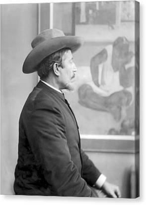 Paul Gauguin 1848-1903 In Front Of His Canvases, C.1893 Bw Photo Canvas Print by French Photographer