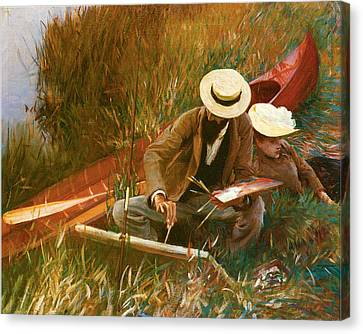 Paul Helleu Sketching With His Wife Canvas Print by John Singer Sargent