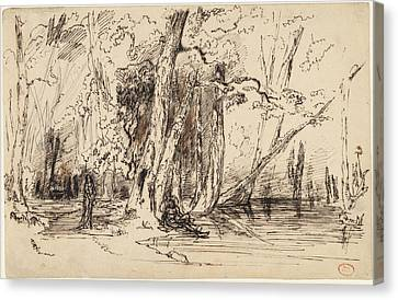Paul Huet, Flooding In The Forest Of The Ile Séguin Canvas Print by Quint Lox