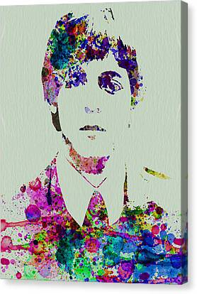 Paul Mccartney Watercolor Canvas Print by Naxart Studio