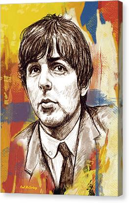 Paul Mccartny Stylised Pop Art Drawing Potrait Poser Canvas Print by Kim Wang