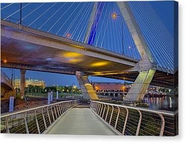 Paul Revere Park And The Zakim Bridge Canvas Print by Susan Candelario