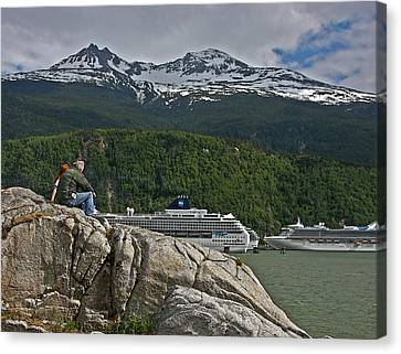 Pause In Wonder At Cruise Ships In Alaska Canvas Print by John Haldane