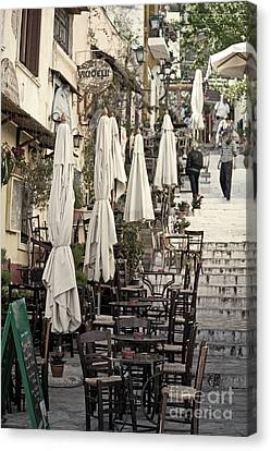 Pavement Cafe Of Athens Canvas Print by Aiolos Greek Collections