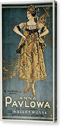 Pavlova, Anna 1882-1931. Poster Canvas Print by Everett
