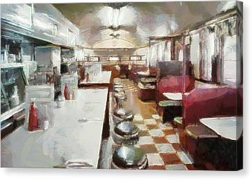 Pawtucket Diner Interior Canvas Print by Dan Sproul