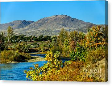 Payette River And Squaw Butte Canvas Print by Robert Bales