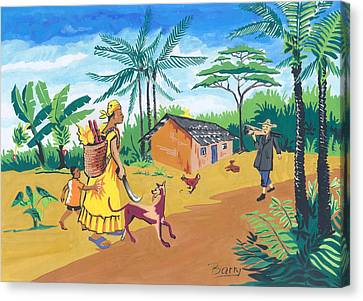 Canvas Print featuring the painting Paysage Du Sud Du Cameroon by Emmanuel Baliyanga
