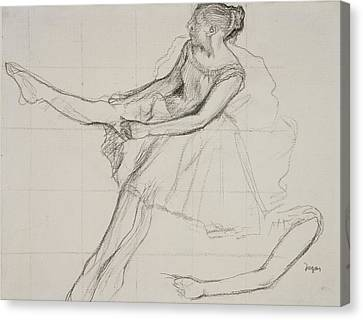 Dancer Adjusting Her Tights Canvas Print by Edgar Degas