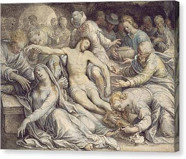 The Lamentation Over The Dead Canvas Print by Isaac Oliver