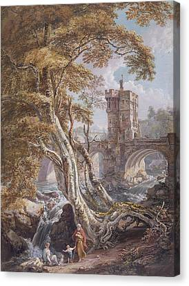 View Of The Old Welsh Bridge Canvas Print by Paul Sandby