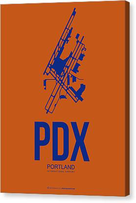 Pdx Portland Airport Poster 1 Canvas Print by Naxart Studio