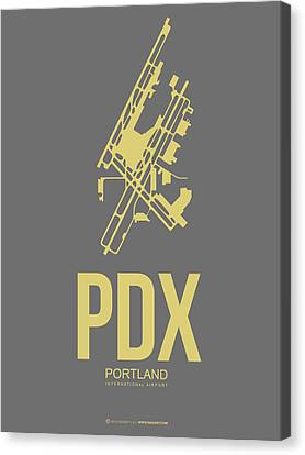 Plane Canvas Print - Pdx Portland Airport Poster 2 by Naxart Studio