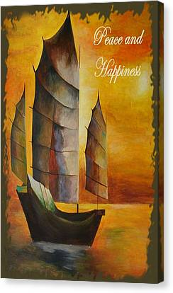 Peace And Happiness Christmas Greetings Canvas Print by Tracey Harrington-Simpson