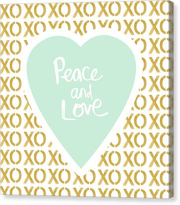 Peace And Love In Aqua And Gold Canvas Print by Linda Woods