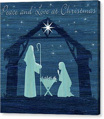 Nativity Canvas Print - Peace And Love by P.s. Art Studios
