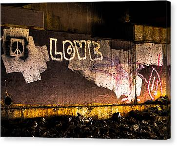 Peace And Love Under The Bridge Canvas Print by Bob Orsillo