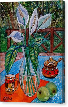 Peace Lilies On The Patio Canvas Print by Caroline Street