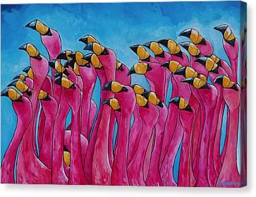 Peace Love And Flamingos Canvas Print by Patti Schermerhorn