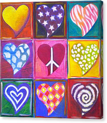 Bold Colors Canvas Print - Peace Love And Heart Art by Debi Starr