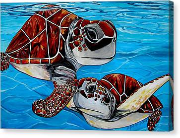 Peace Love And Turtles Canvas Print by Patti Schermerhorn