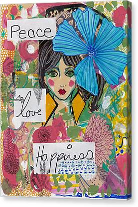 Peace Love Happiness Canvas Print