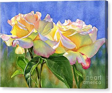 Peace Roses With Blue Background Canvas Print by Sharon Freeman