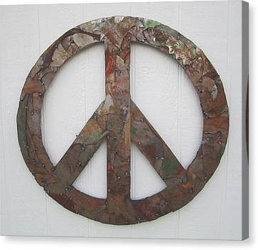 Peace Sign From Pieces Recylced Metal Wall Sculpture Canvas Print by Robert Blackwell