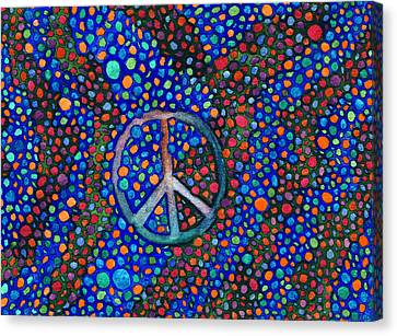 Canvas Print featuring the painting Peace Sign by Janice Dunbar