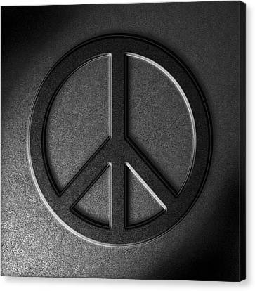Canvas Print featuring the digital art Peace Sign Stone Texture by The Learning Curve Photography