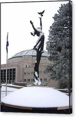 Peace Statue In Winter Canvas Print