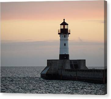 Duluth Canal Park Canal Park Lighthouse Lighthouse Lake Superior Minnesota Canvas Print - Peaceful Easy Feeling by Alison Gimpel