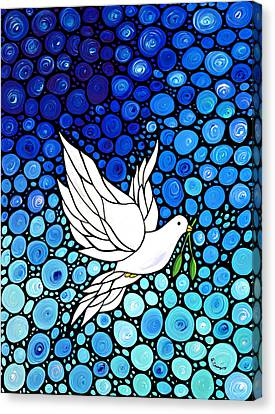 White Birds Canvas Print - Peaceful Journey - White Dove Peace Art by Sharon Cummings
