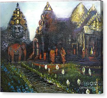 Peaceful Moment In Ankur Wat Canvas Print