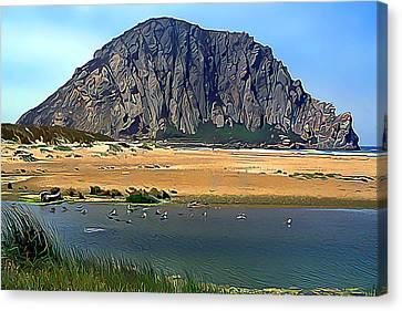 Peaceful Morro Rock Canvas Print by Wernher Krutein