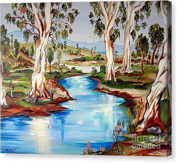 Peaceful River In The Australian Outback Canvas Print by Roberto Gagliardi