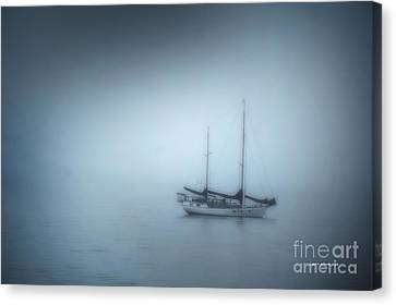 Peaceful Sailboat On A Foggy Morning From The Book My Ocean Canvas Print by Artist and Photographer Laura Wrede