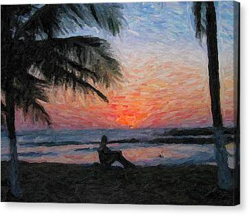 Peaceful Sunset Canvas Print by David Gleeson