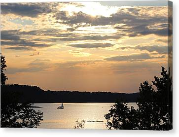 Canvas Print featuring the digital art Peaceful Sunset by Lorna Rogers Photography