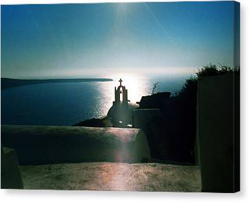 Canvas Print featuring the photograph Peaceful Sunset Santorini Island Greece by Colette V Hera  Guggenheim