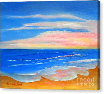 Canvas Print featuring the painting Peacefully Pink - Pink Seascapes by Shelia Kempf