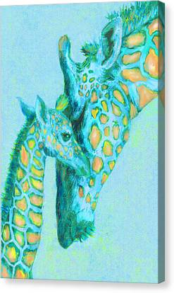 Peaches Canvas Print - Peach And Aqua Giraffes by Jane Schnetlage