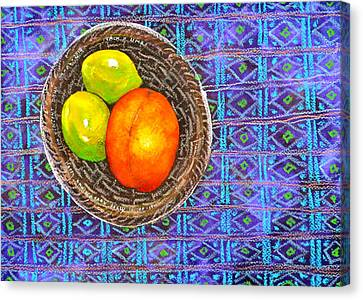 Peach And Limes Still Life Canvas Print by Ion vincent DAnu