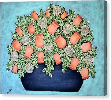 Licorice Canvas Print - Peach Blossoms And Licorice Swirls by Stewalynn Art