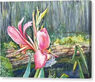 Peach Canna By The Pond Canvas Print by Patricia Allingham Carlson
