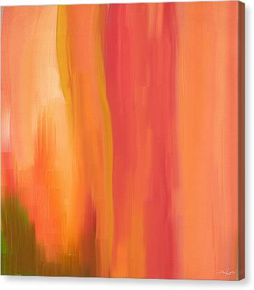 Peach Floral Canvas Print by Lourry Legarde