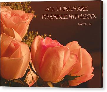 Peach Roses With Scripture Canvas Print by Sandi OReilly